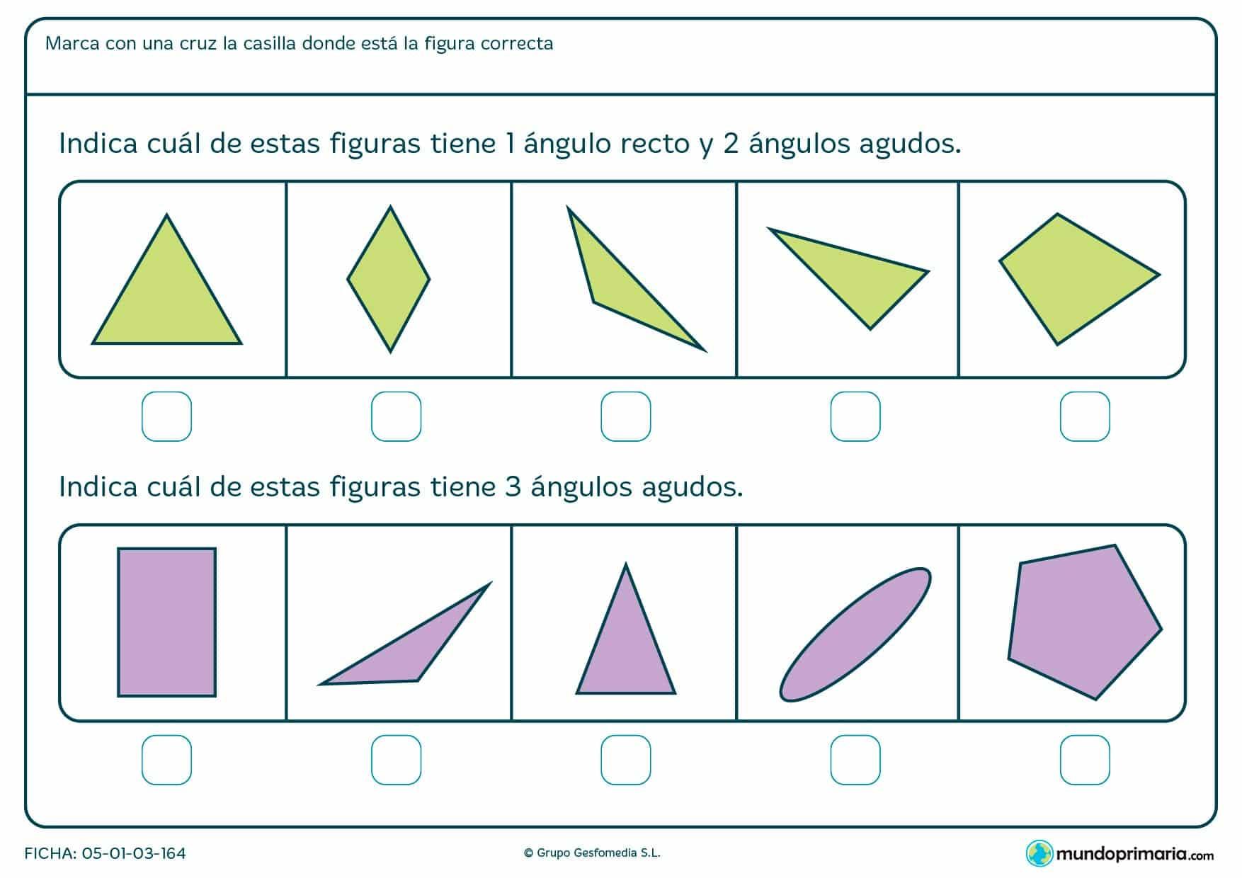 Ficha de ángulos agudos en la que te pedimos que encuentres una figura que tenga los ángulos que te nombramos.