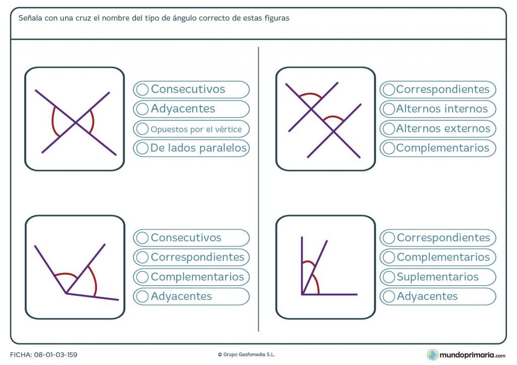 Ficha de ángulos consecutivos para niños de 6º de primaria