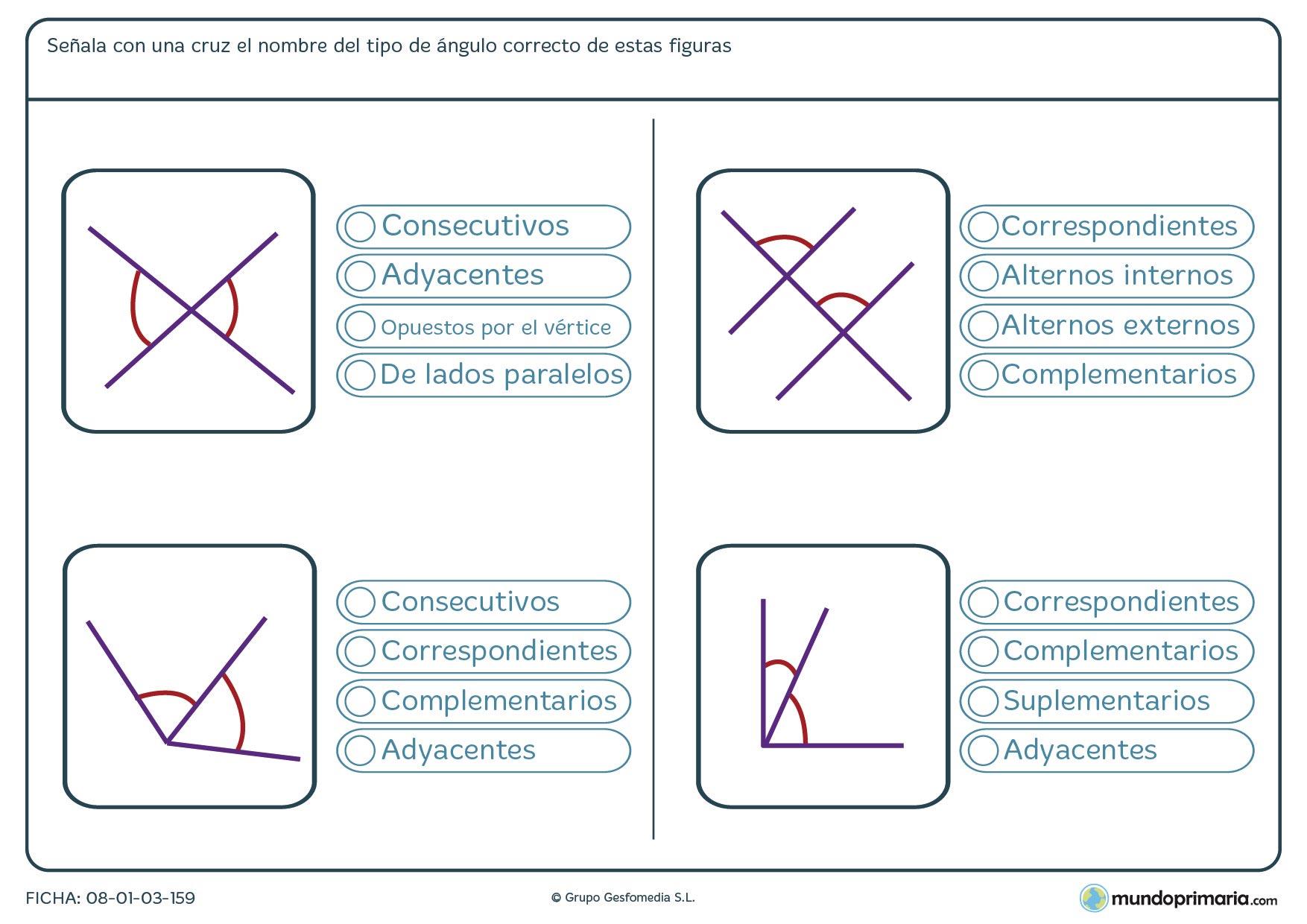 Ficha de ángulos consecutivos, adyacentes, opuestos,… Fíjate bien en estos ángulos y señala como son entre ellos.
