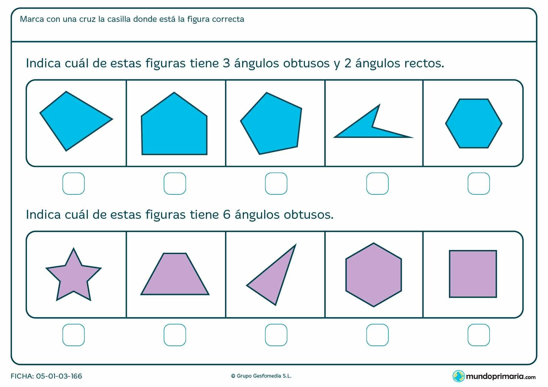 Ficha de ángulos de 90 grados y obtusos en la que has de encontrar la figura que cumpla los requisitos del enunciado.