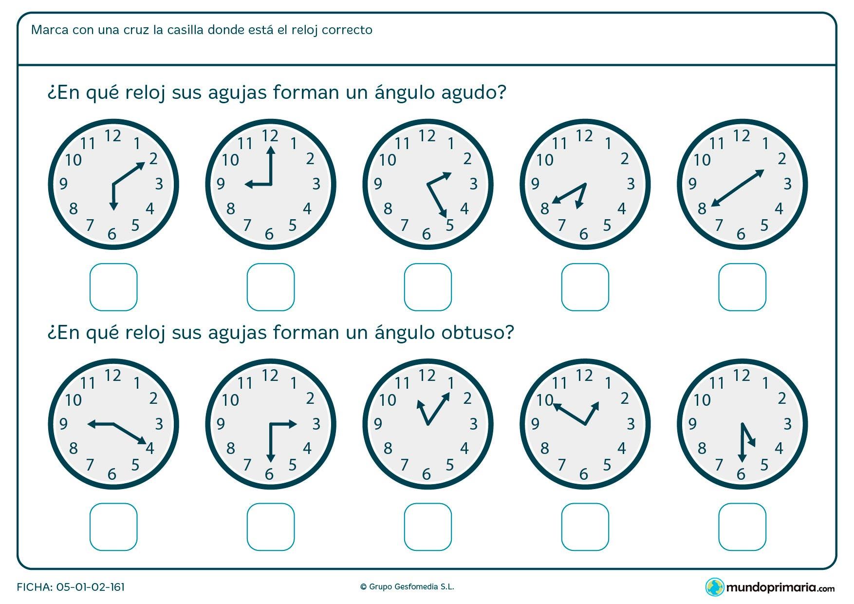 Ficha de ángulos de manecillas de reloj. Has de reconocer el ángulo que forman estas y marcar la respuesta correcta.