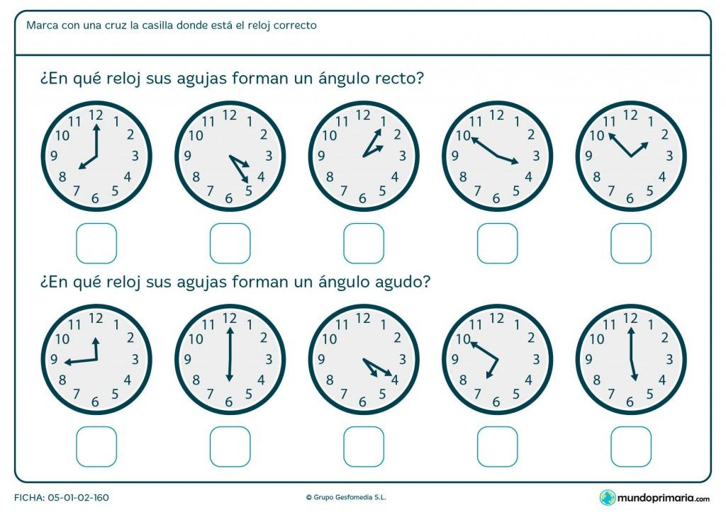 Ficha de ángulos de reloj para primaria