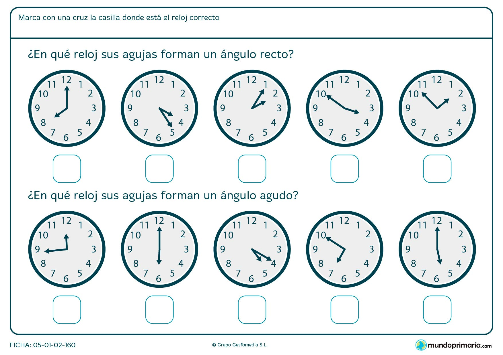 Ficha de ángulos de reloj en la que deberás marcar la respuesta correcta sobre el ángulo que forman sus agujas.