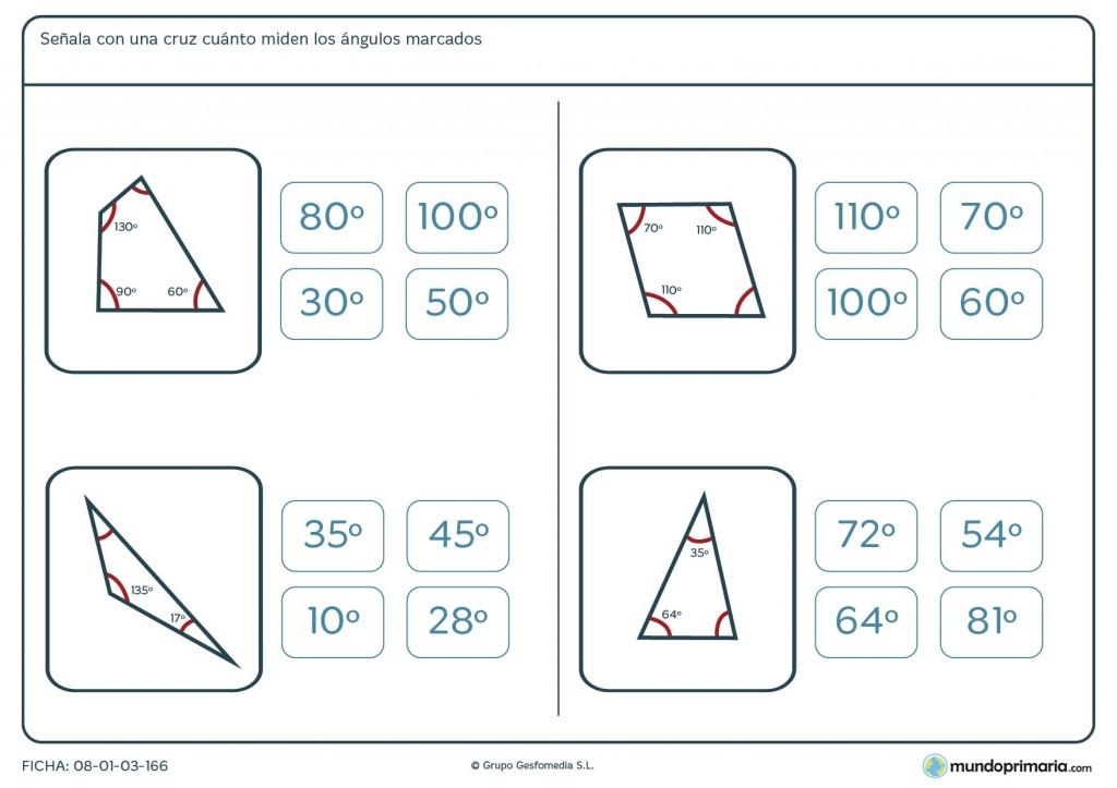 Ficha de ángulos en grados para primaria