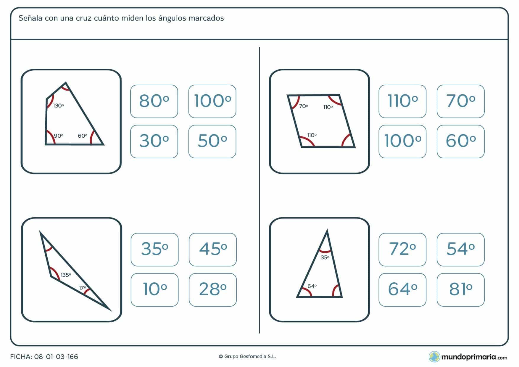 Ficha de ángulos en grados en la que deberás hhallar el valor del ángulo que falta.