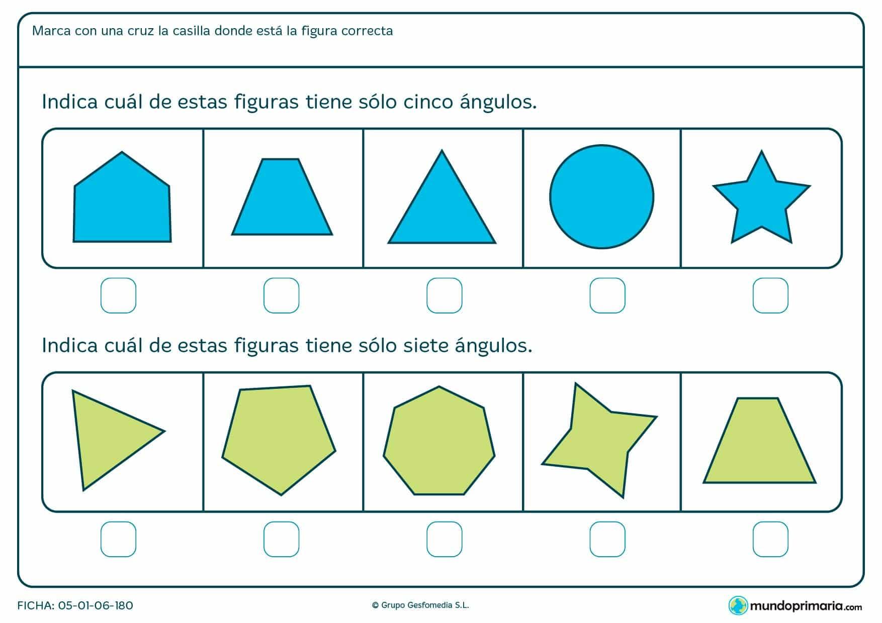 Ficha de ángulos geométricos en la que has de contar ángulos y decir que figura es la correcta.