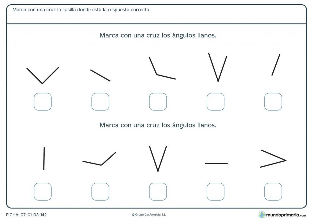 Ficha de ángulos llanos para niños de 10 años
