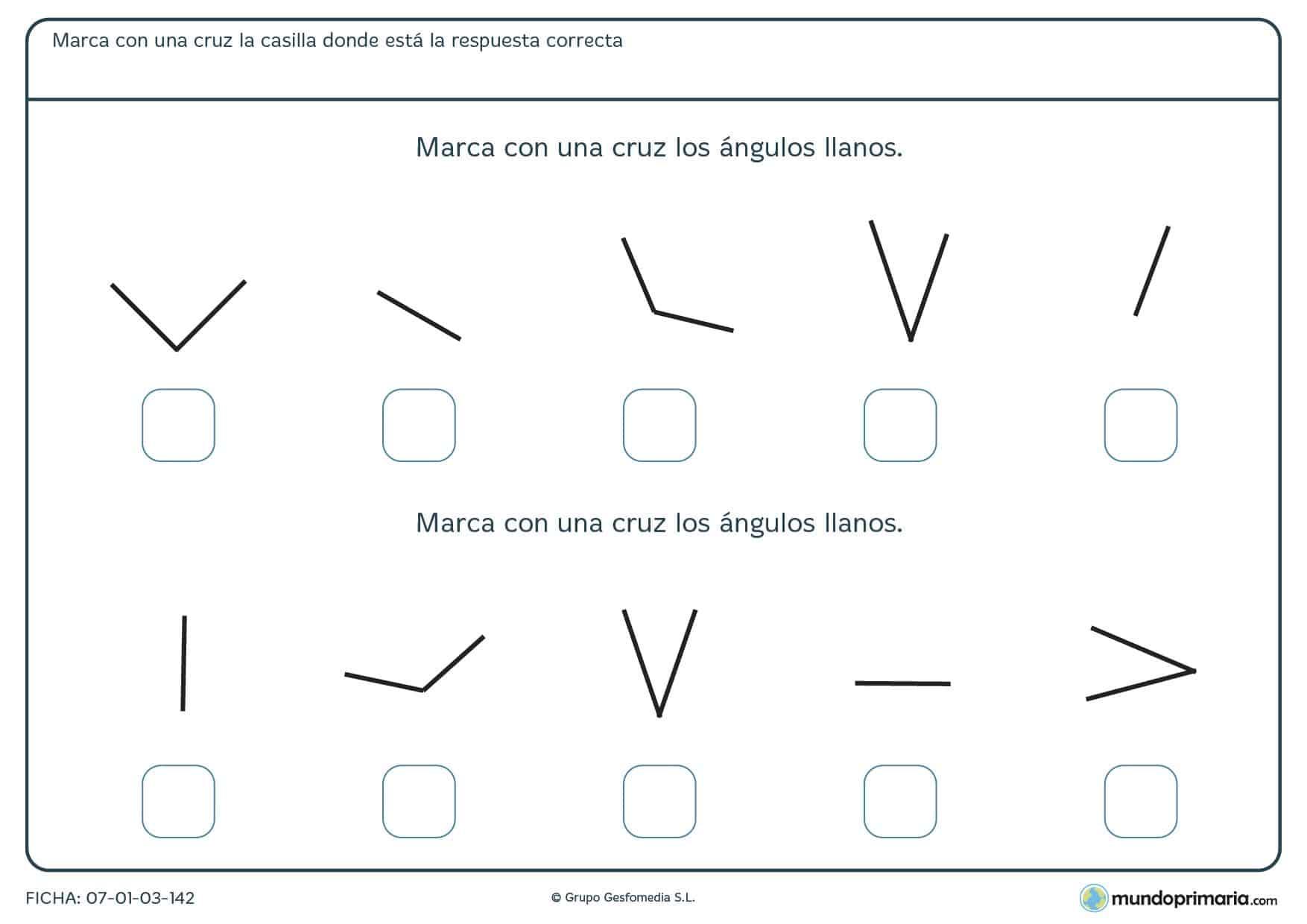 Ficha de ángulos llanos en la que tendrás que marcar todos los que encuentres.