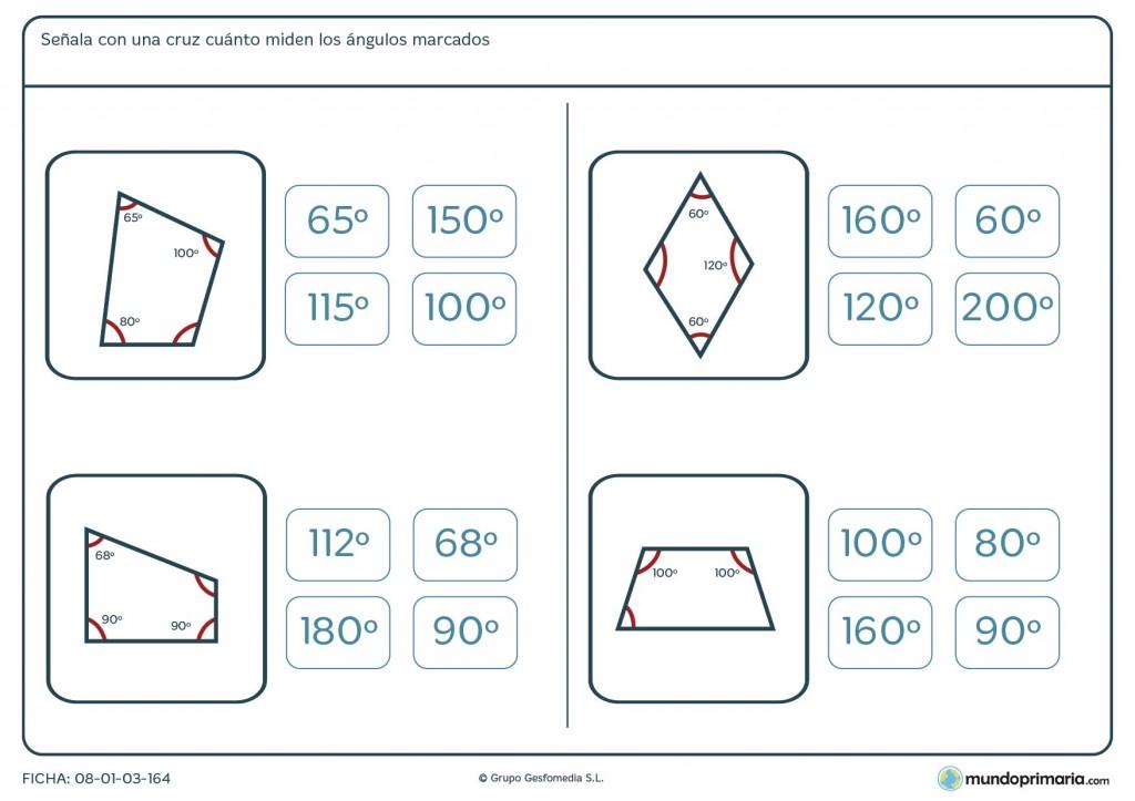 Ficha de ángulos medidos para sexto de primaria