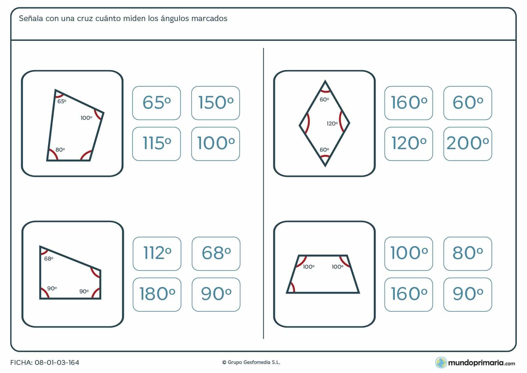 Ficha de ángulos medidos en las que hallarás el o los ángulos que falten por marcar.