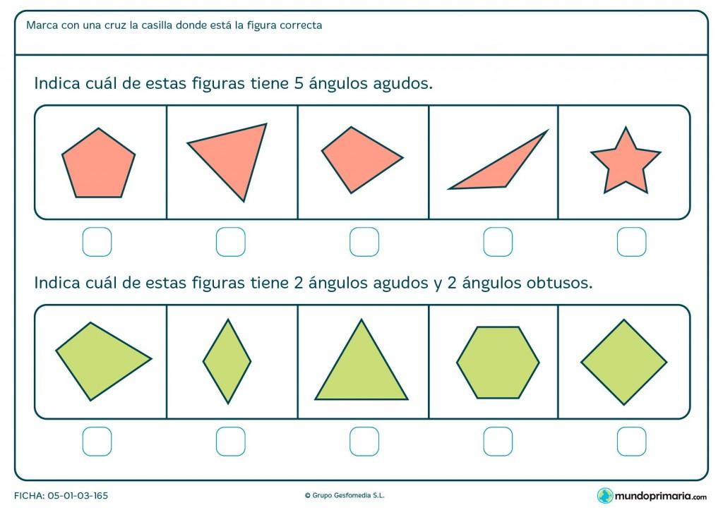 Ficha de ángulos obtusos para primaria