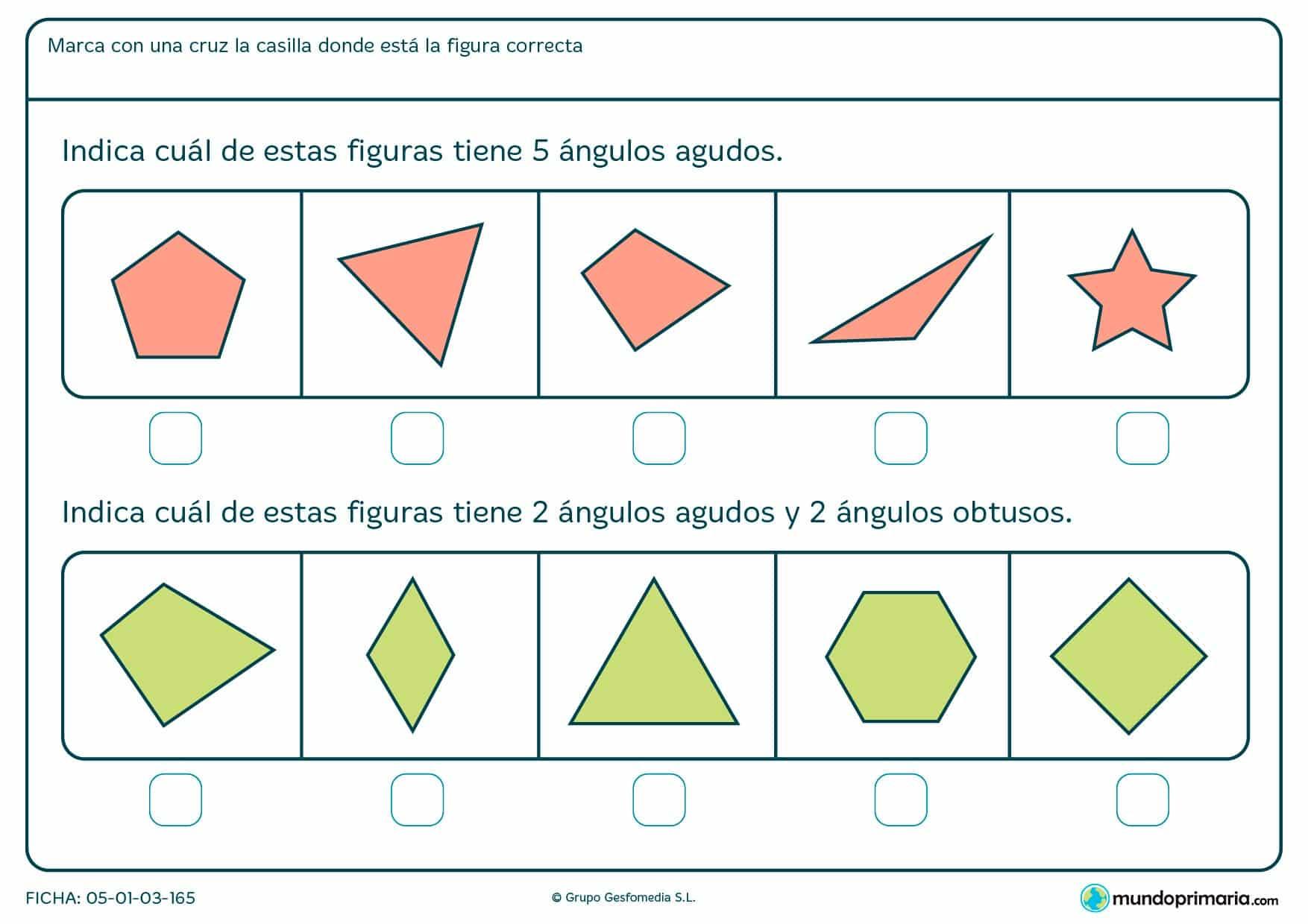 Ficha de ángulos obtusos y agudos en la que tendrás que contarlos y señalar la figura correcta que cumpla esas condiciones.