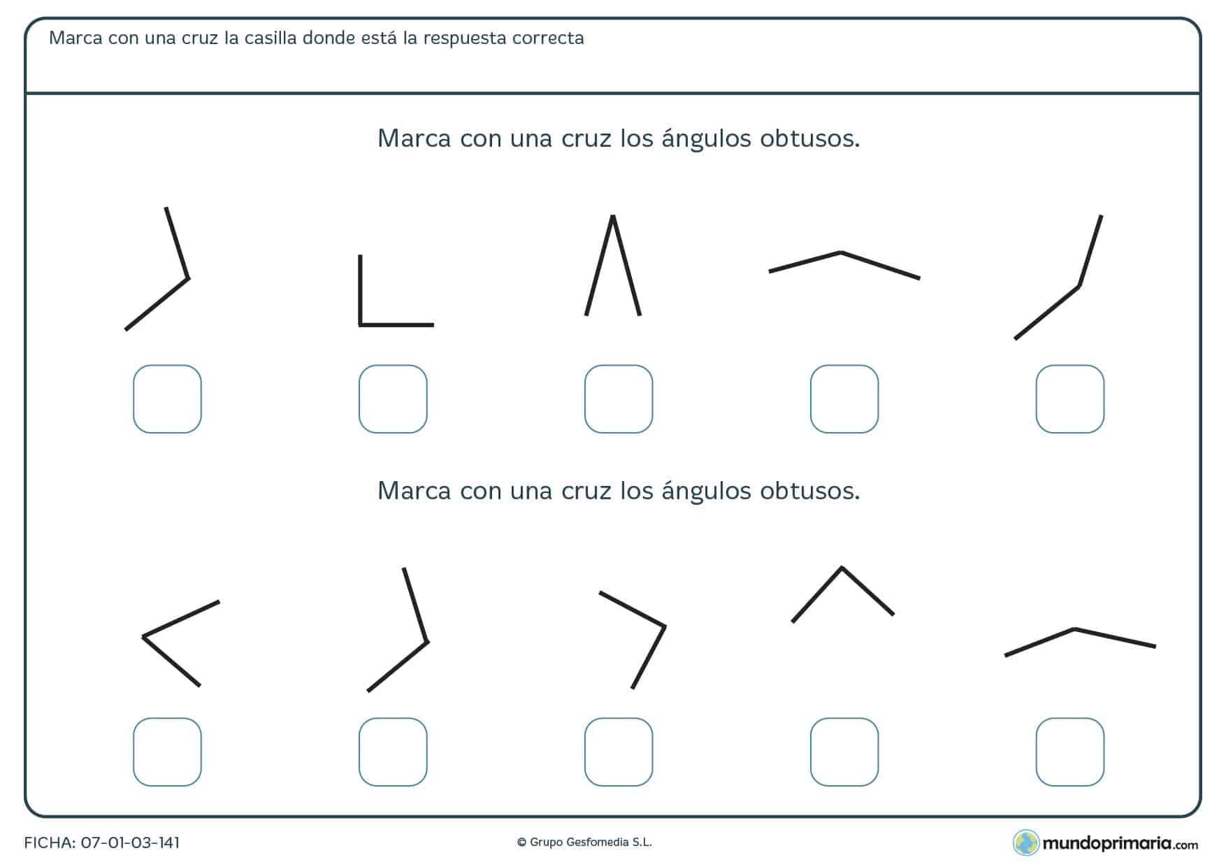 Ficha de ángulos obtusos en la que deberás señalar los ángulos de este tipo que encuentres.
