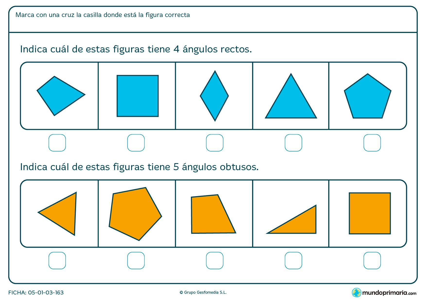 Ficha de ángulos rectos y obtusos en esta ficha de figuras geométricas en la que deberás señalar la respuesta correcta.