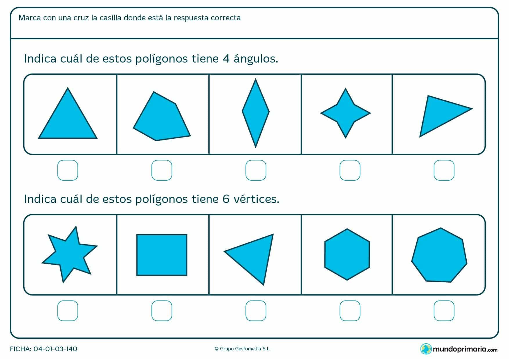 Ficha de ángulos y vértices para que los ordenes según sea el número de ángulos o vértices que tengan.