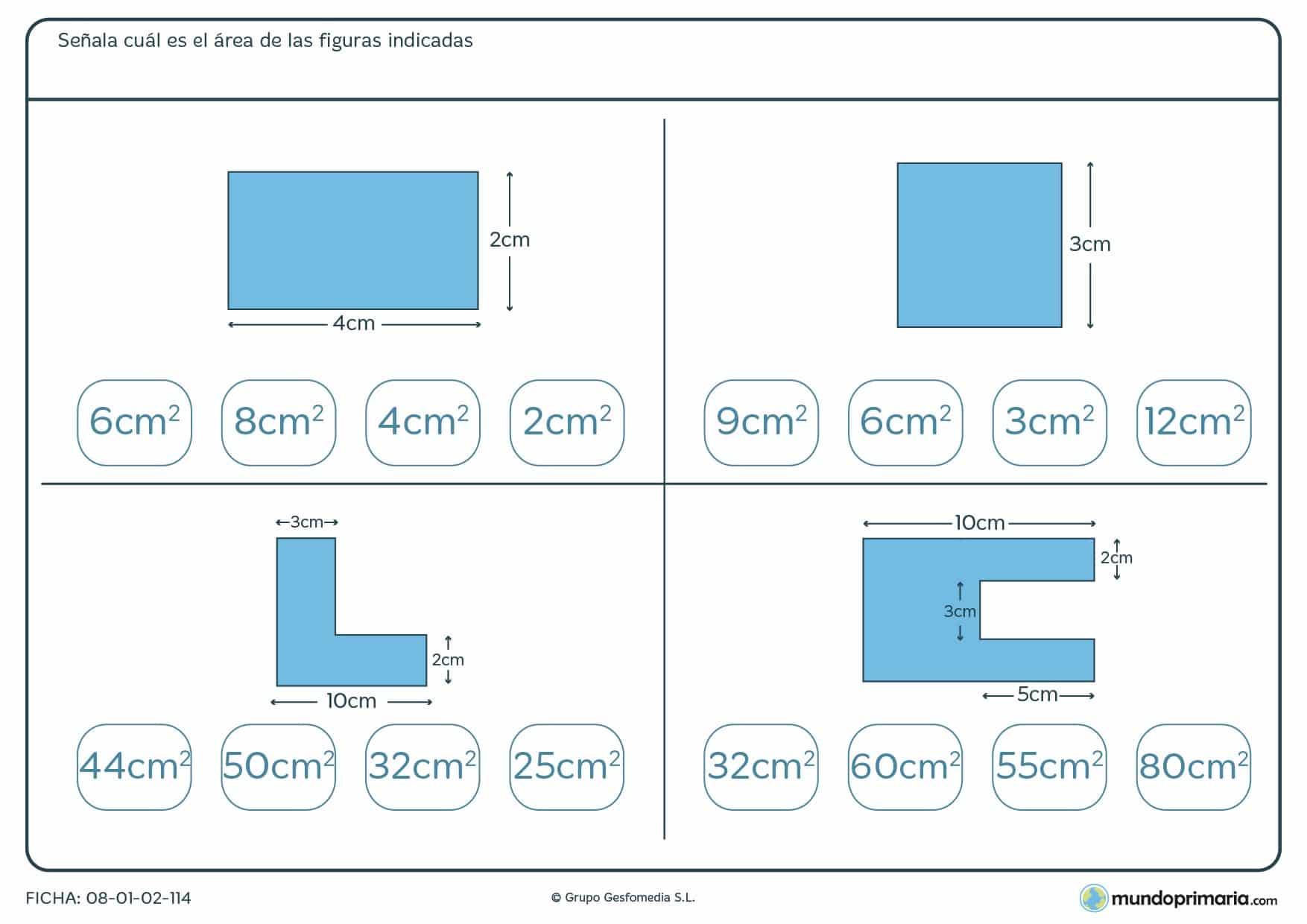 Ficha de área de figuras geométricas que tienes que resolver con los datos que te facilitamos.