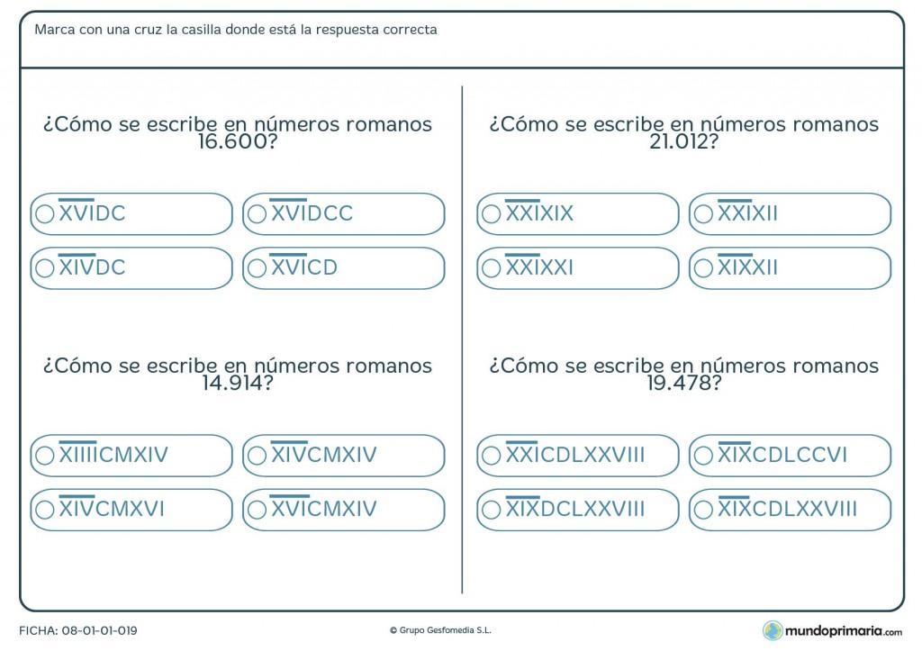 Ficha de 5 cifras a romanos para niños de primaria