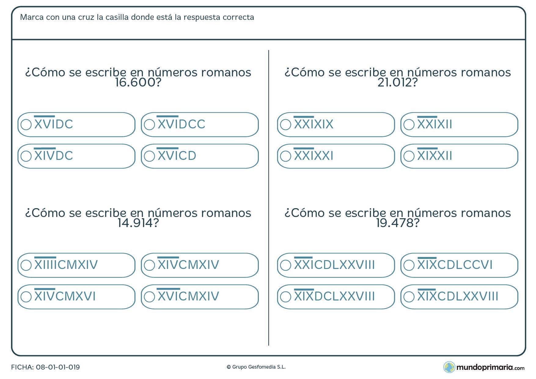 Ficha de 5 cifras a romanos en la que tienes que hallar la equivalencia en número común.