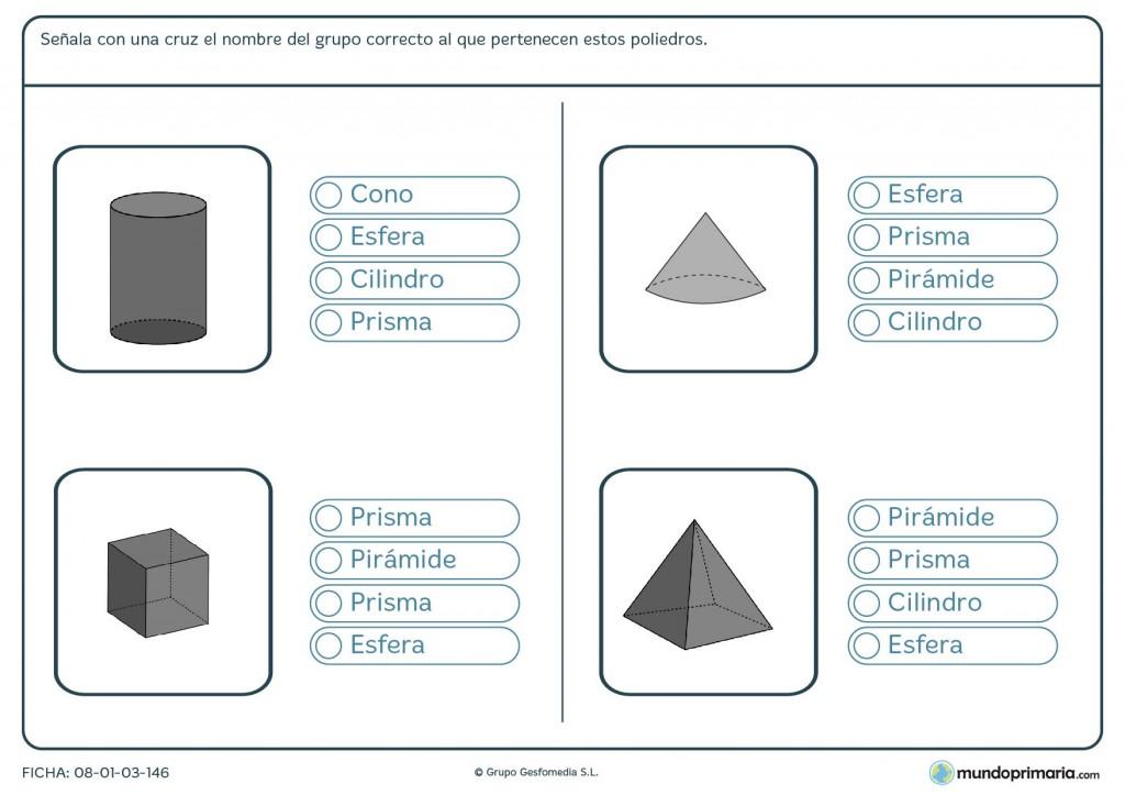 Ficha de acertar poliedros para sexto de primaria