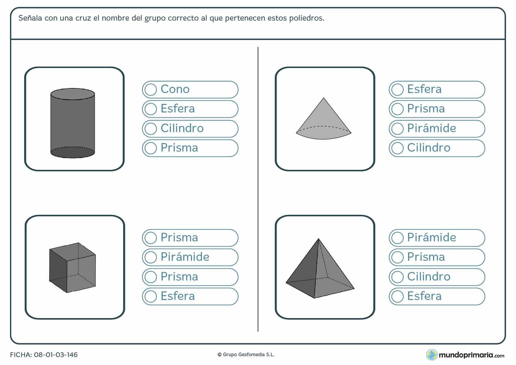 Ficha de acertar poliedros marcando el grupo al que pertenece cada uno de los mostrados.