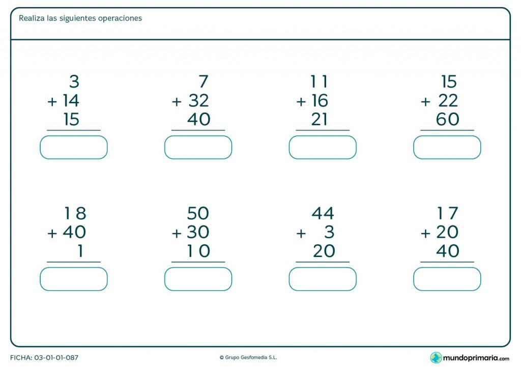 Ficha de adición de 3 números de 2 cifras para primaria