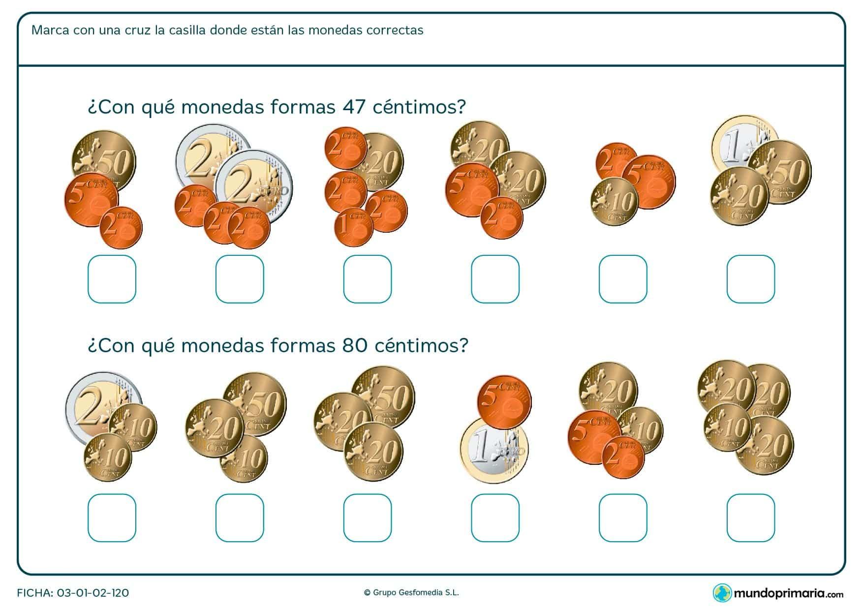 Ficha de adición de monedas indicando cuál es el grupo que forman 47 céntimos y cuál el de 80 céntimos.
