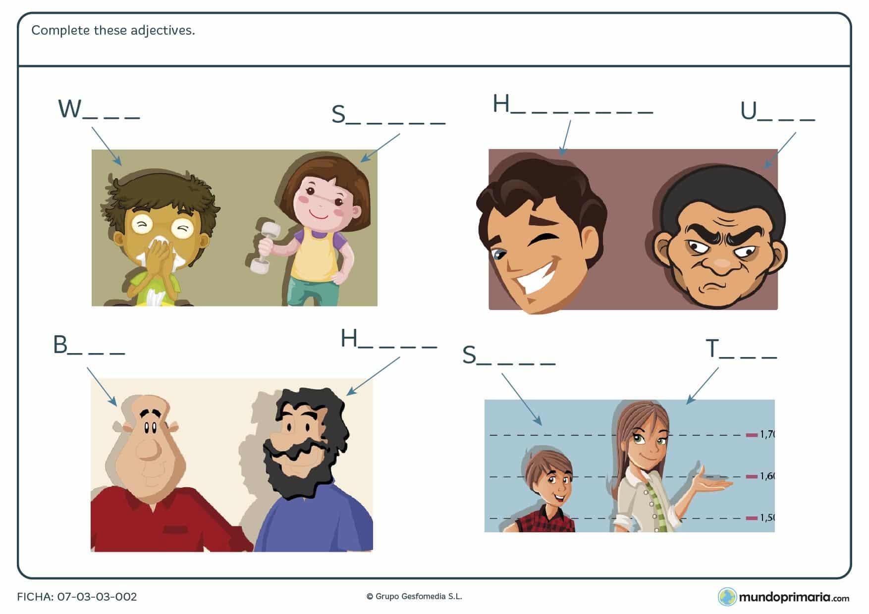 Repasa los adjetivos en inglés con la ficha de adjetives para niños de quinto curso de primaria
