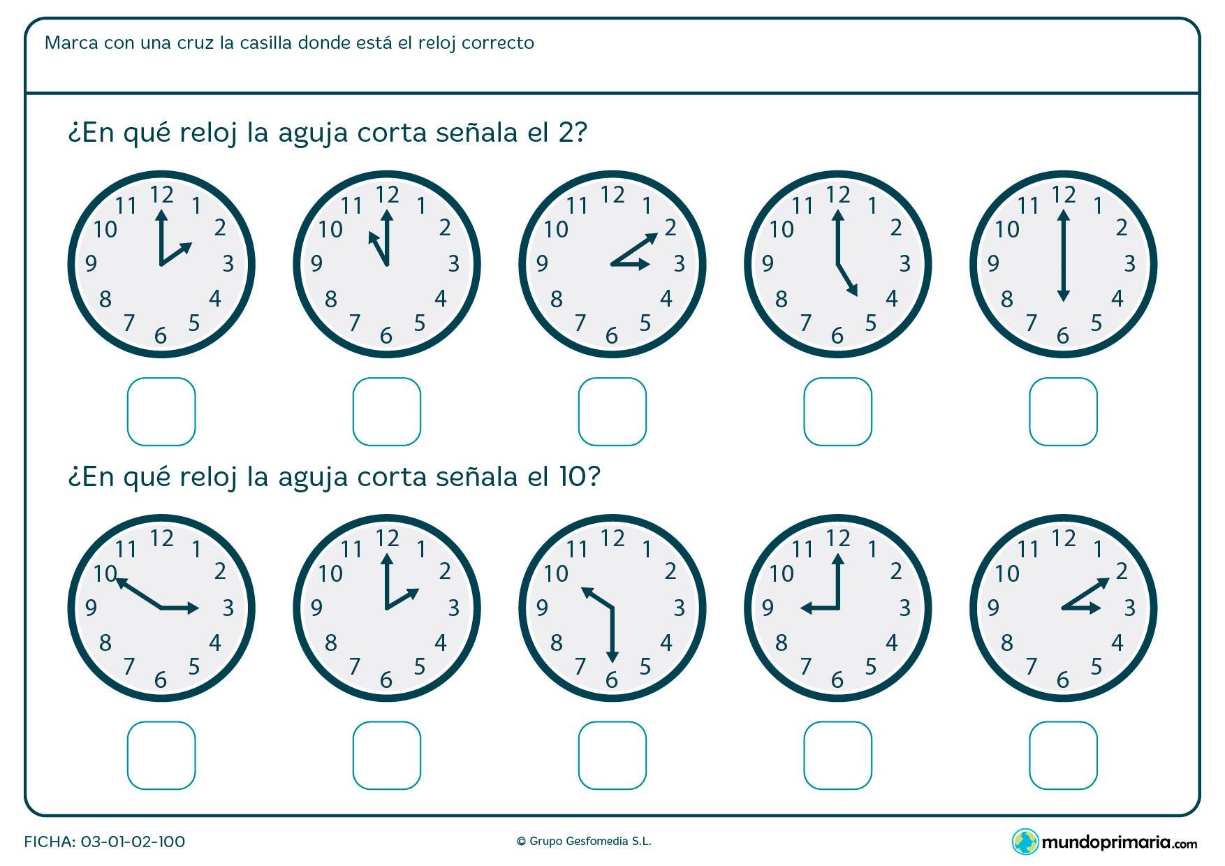 Ficha de aguja corta analógico para decir en qué reloj son las 2 en punto y en cuál las 10 en punto.