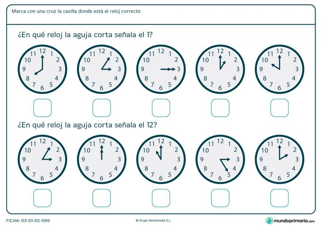 Ficha de aguja corta de reloj