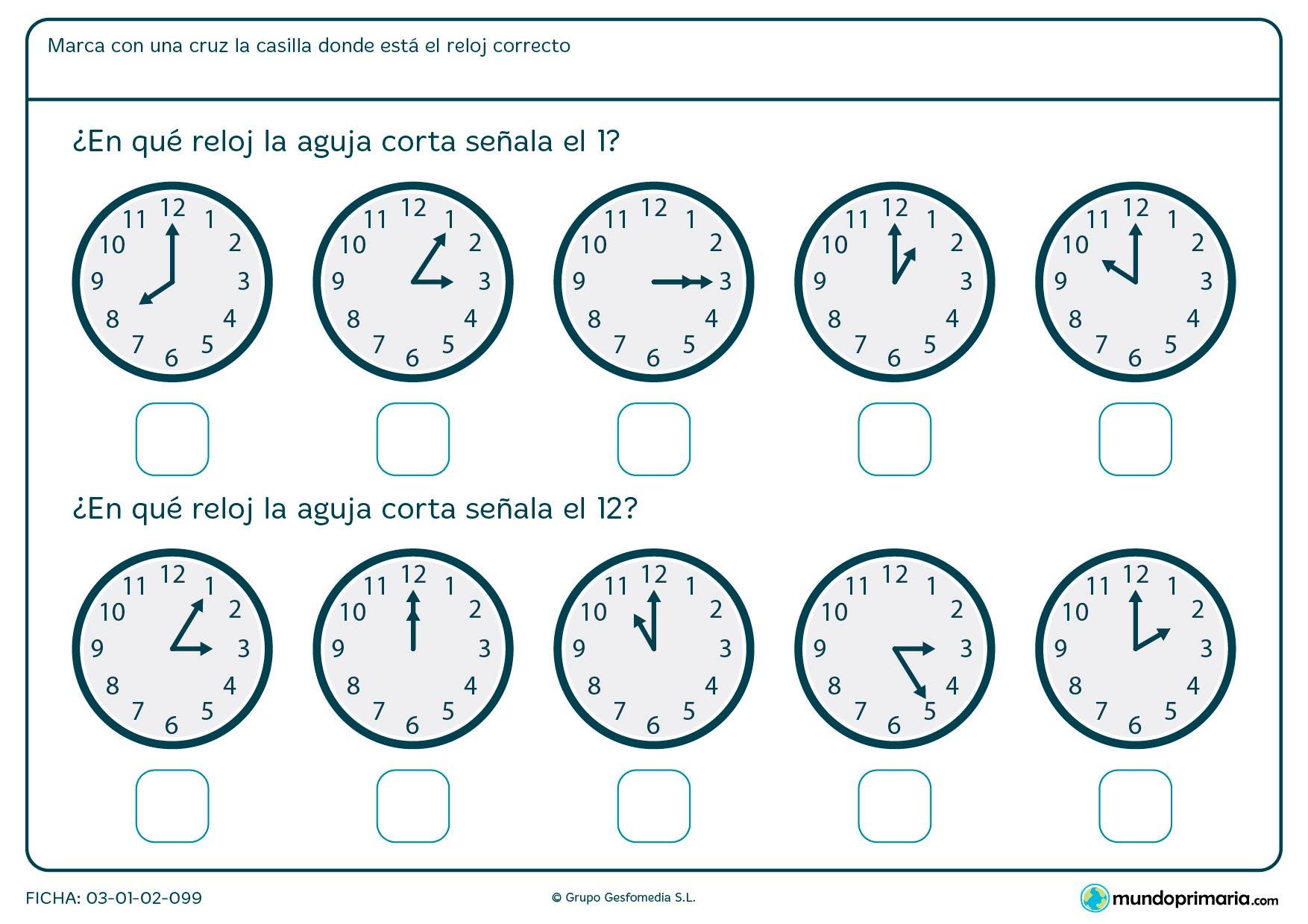 Ficha de aguja corta de reloj en la que tendrás que señalar los relojes que marcan la 1 y las 12 en punto.