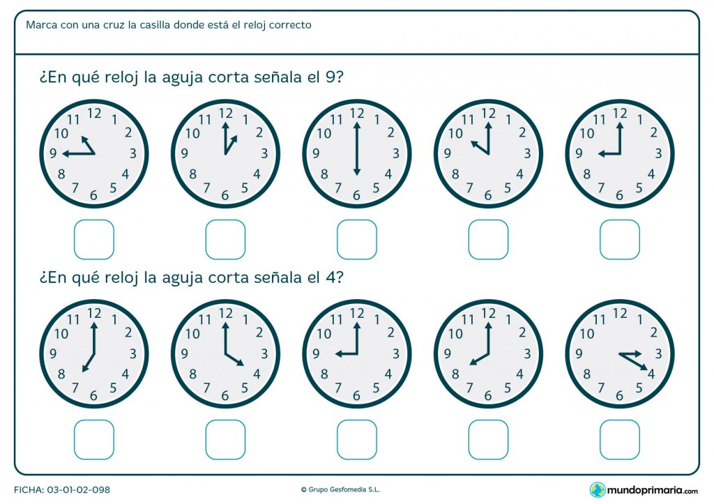 Ficha de aguja de reloj analógico