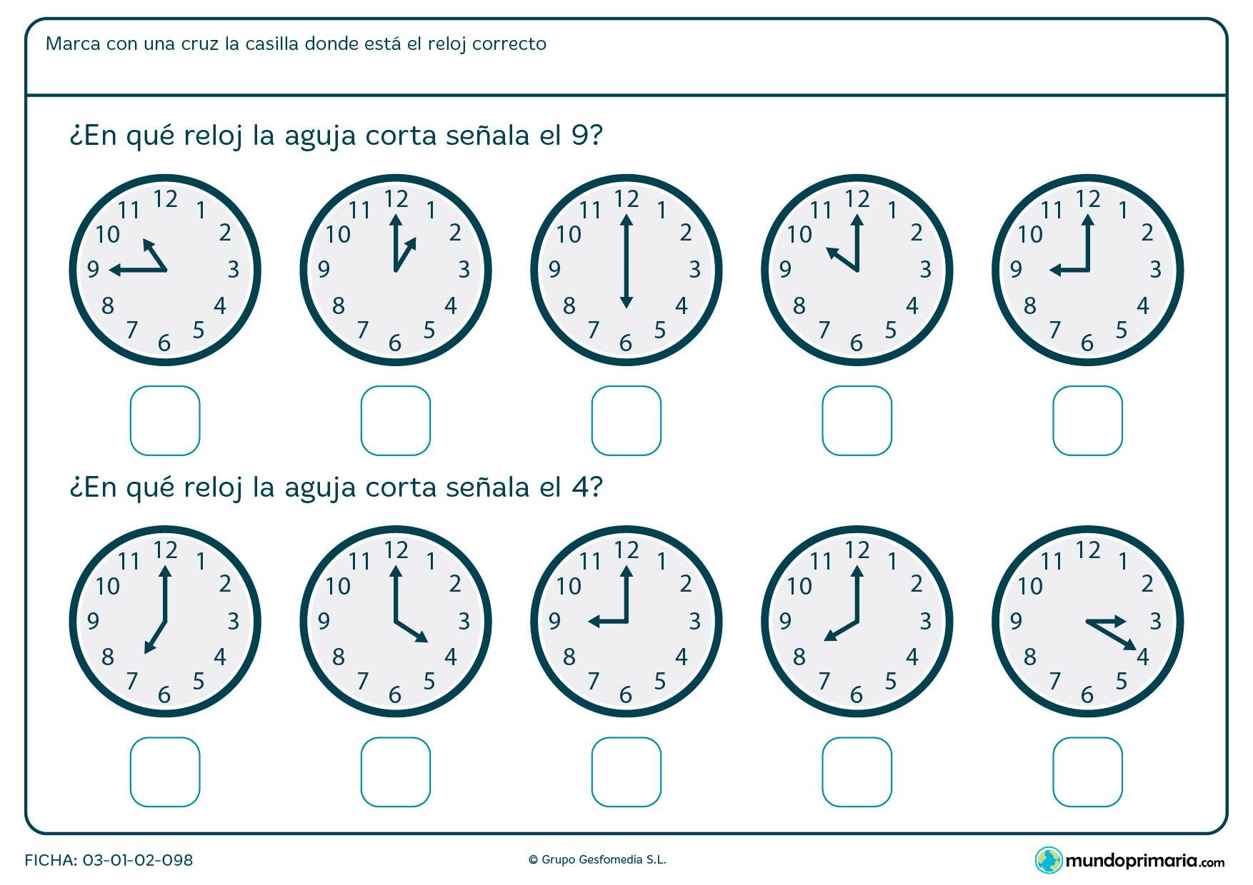 Ficha de aguja de reloj analógico en la que debes señalar los relojes que marcanlas horas en punto que te pedimos.
