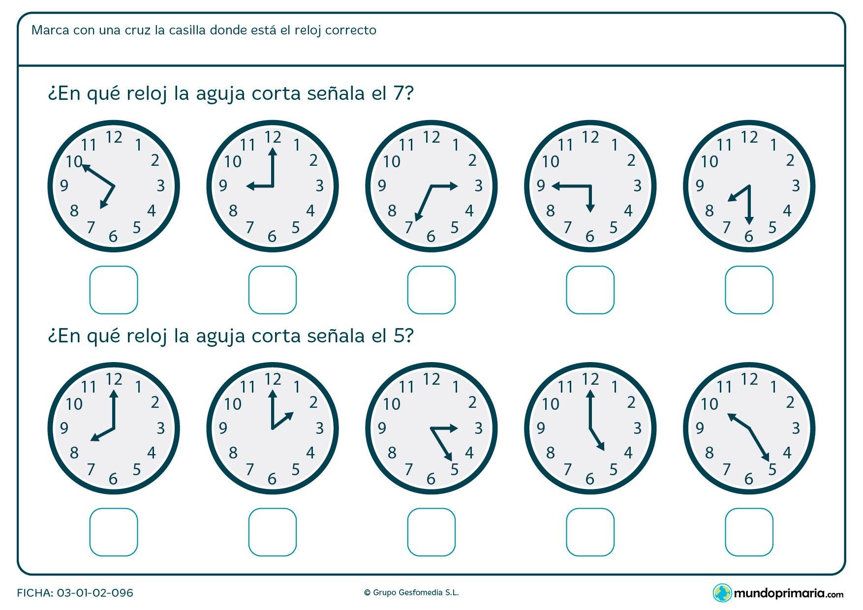 Ficha de aguja de reloj en la que tendrás que señalar los relojes que marcan las 7 y las 5 en punto.