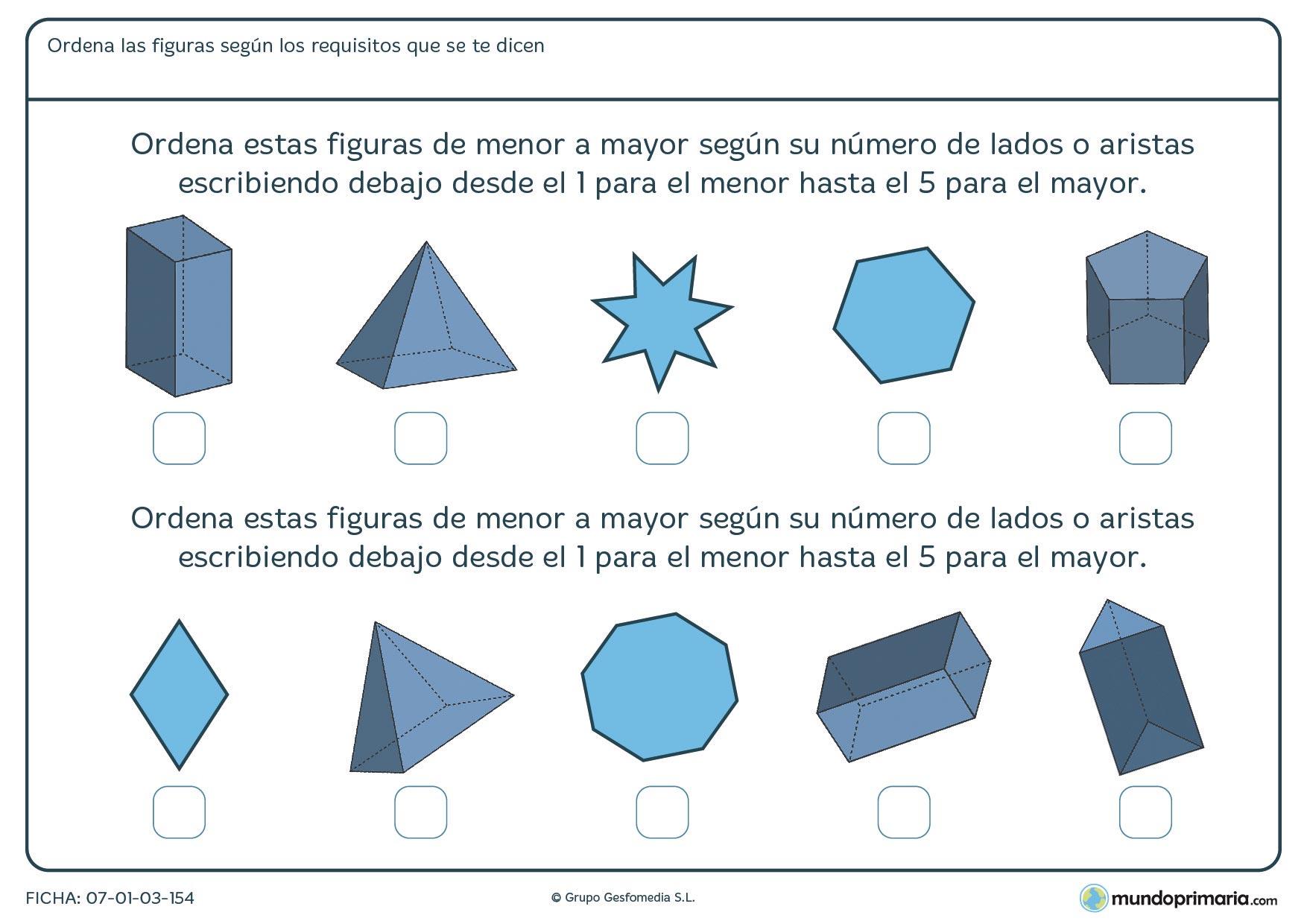 Ficha de aristas de figuras en la que deberás ordenar estas figuras geométricas de menor a mayor número de lados o aristas.