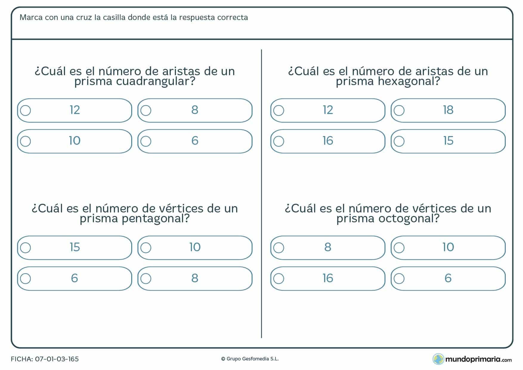 Ficha de aristas de un prisma en la que has de marcar el número de aristas o vértices que tienen.
