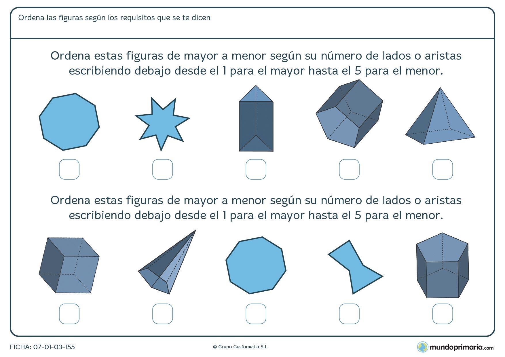 Ficha de aristas para ordenar por su número de mayor a menosr, las siguientes figuras geométricas.
