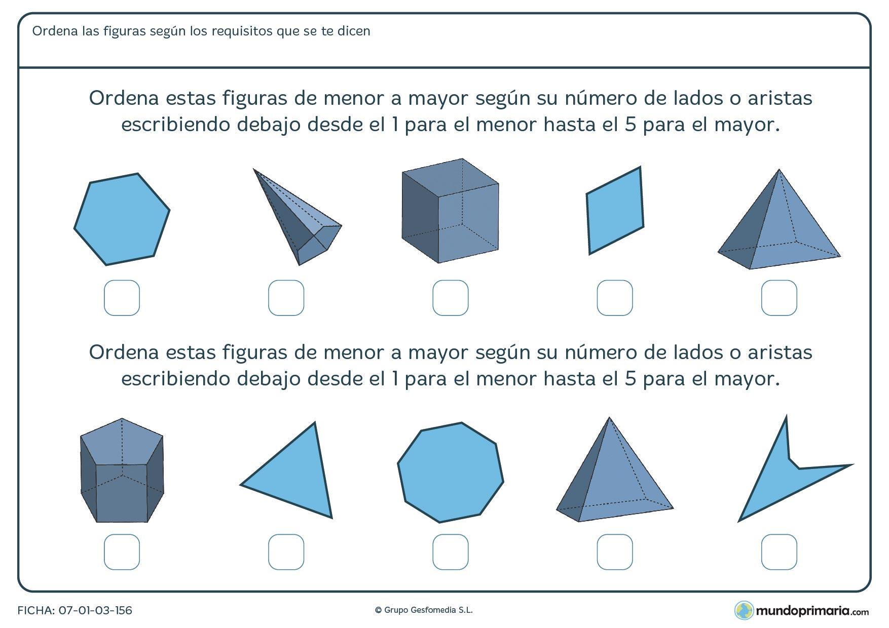 Ficha de aristas y lados en la que deberás ordenarlas de menor a mayor por su número de lados y aristas.