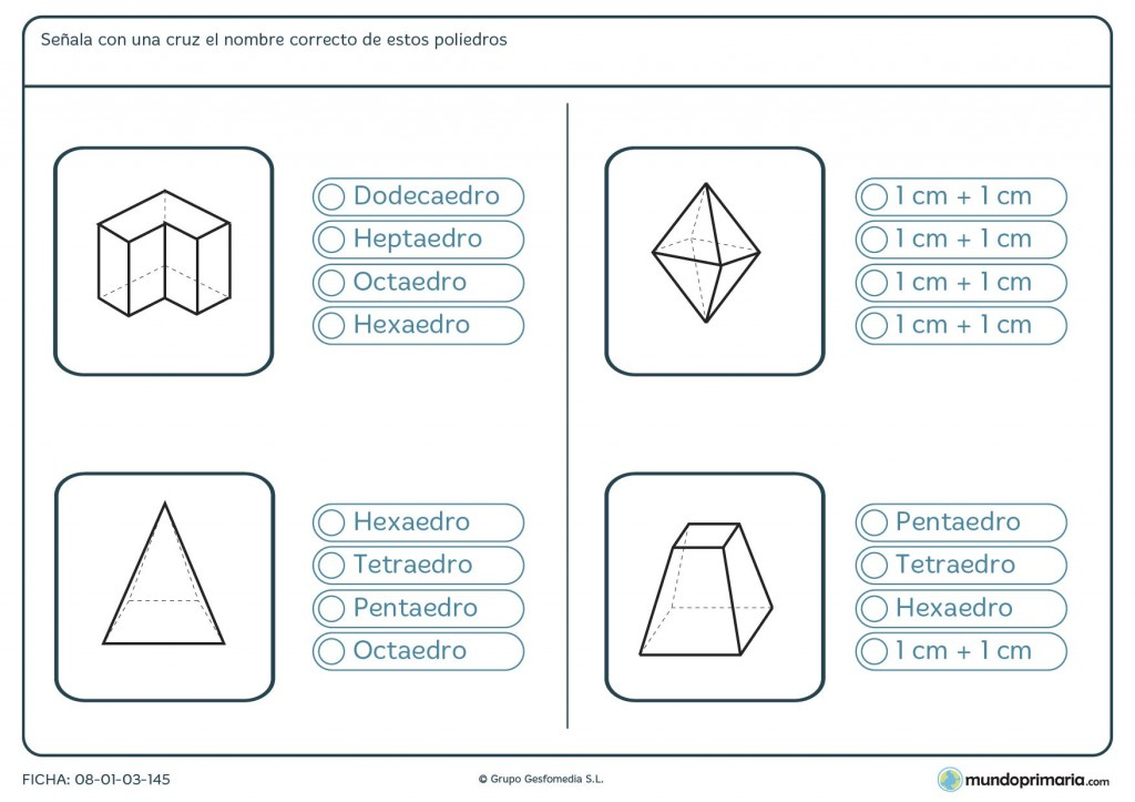 Ficha de averiguar el poliedro para primaria