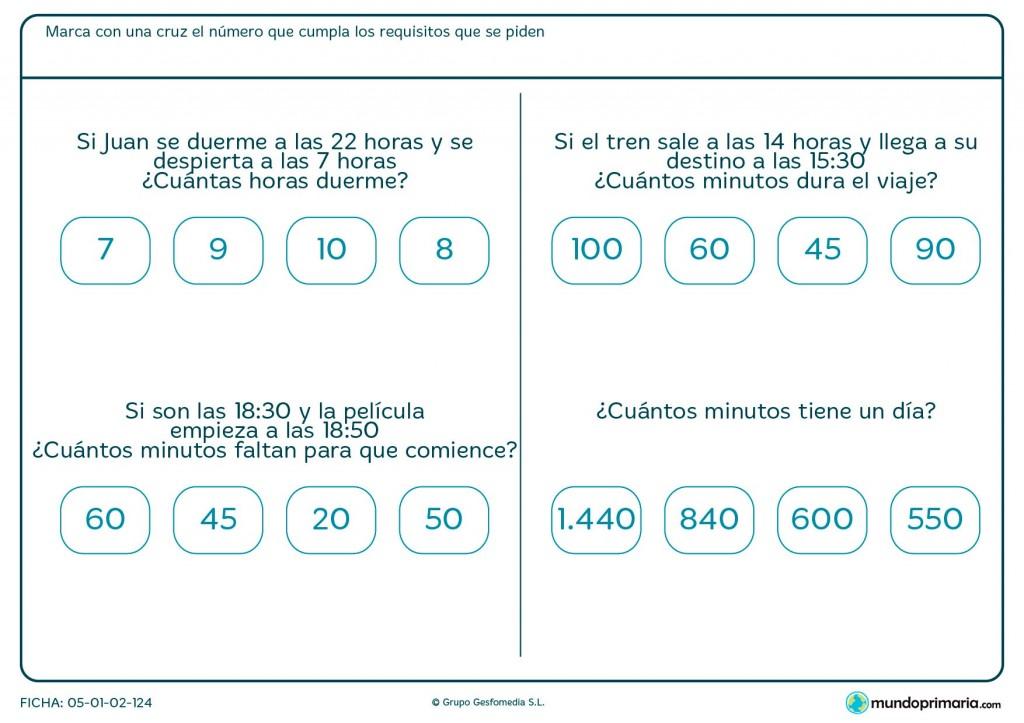 Ficha de averiguar minutos para primaria