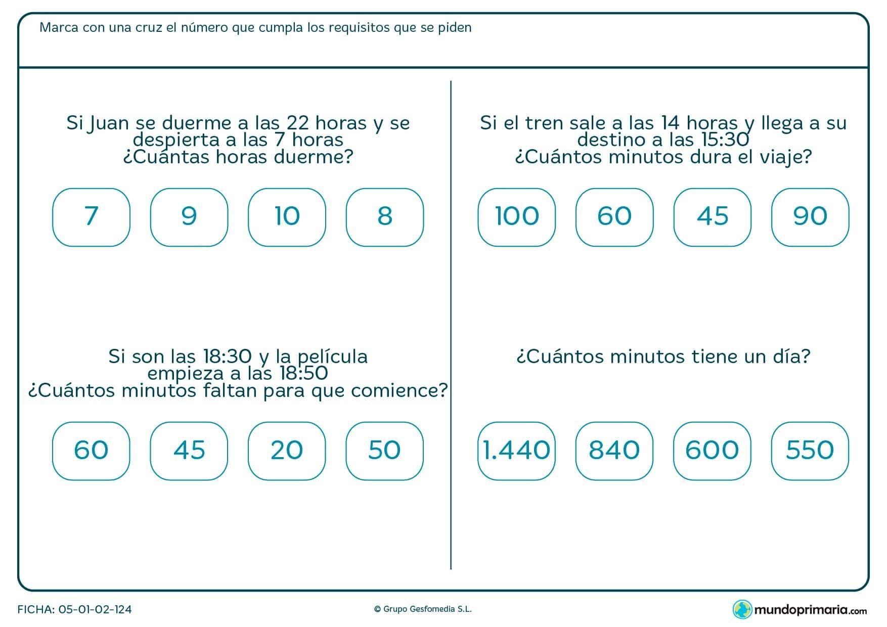 Ficha de averiguar minutos dentro de pequeños problemas relaccionados con el tiempo que tarda o dura una situación cotidiana.