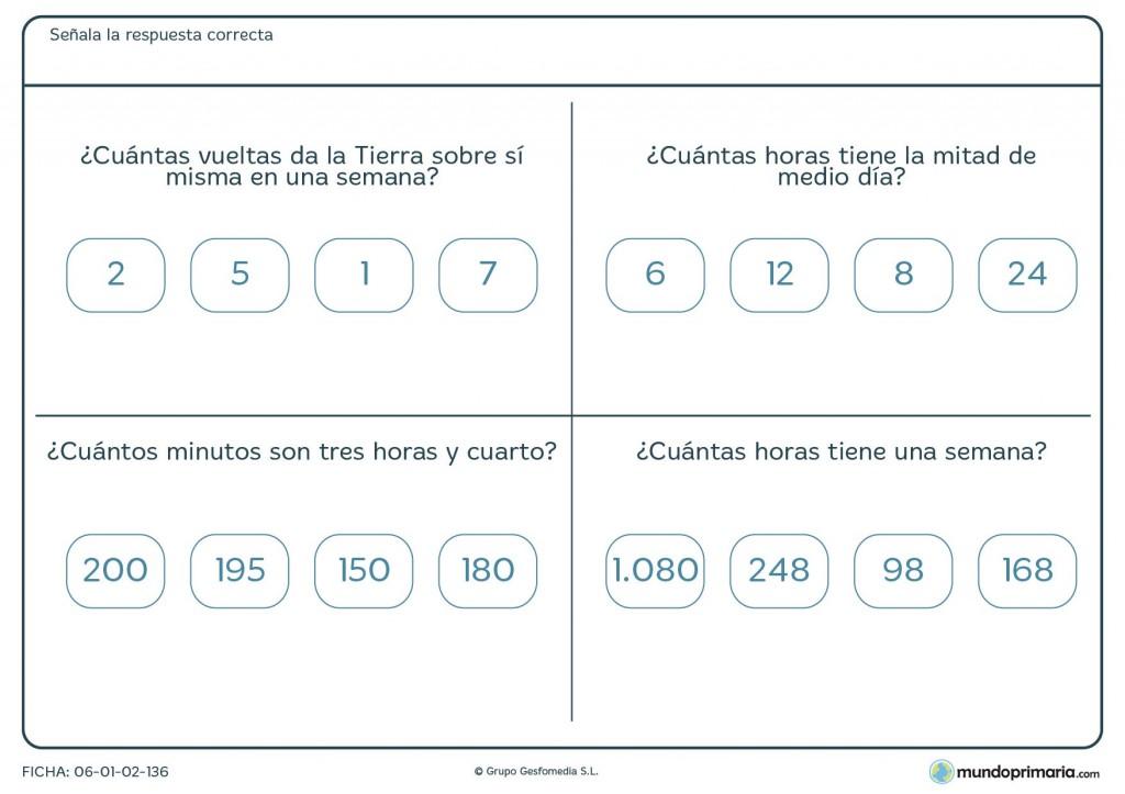 Ficha de cálculo de horas para primaria