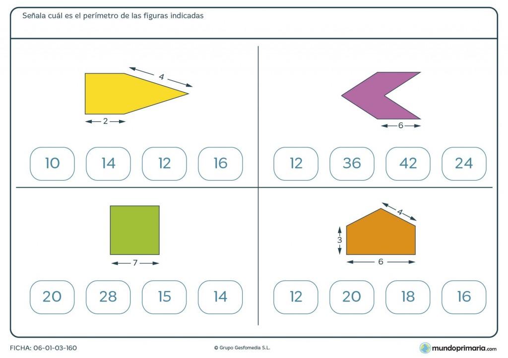 Ficha de cálculo de perímetros para niños de primaria