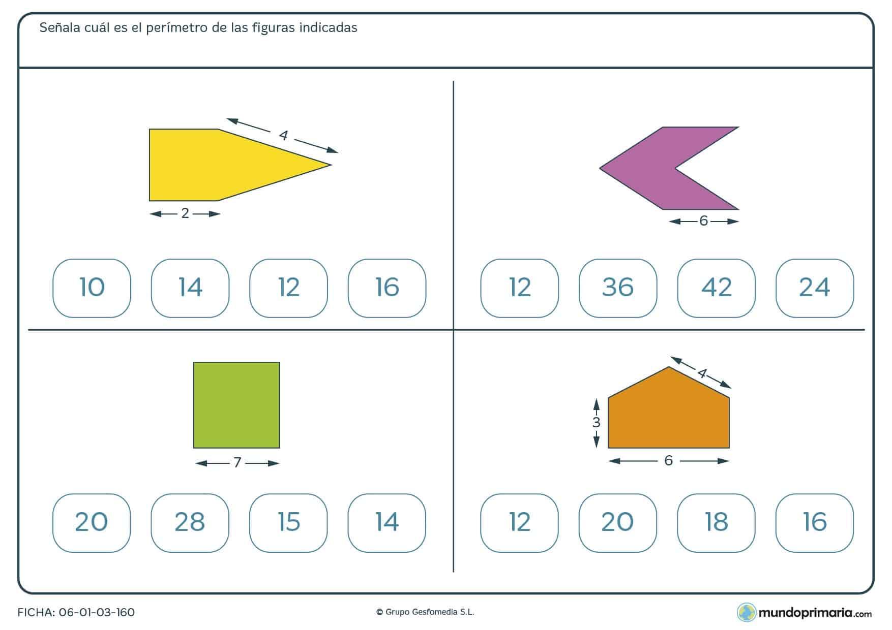 Ficha de cálculo de perímetros que debes de hallar de estas cuatro figuras y marcar los números correctos.