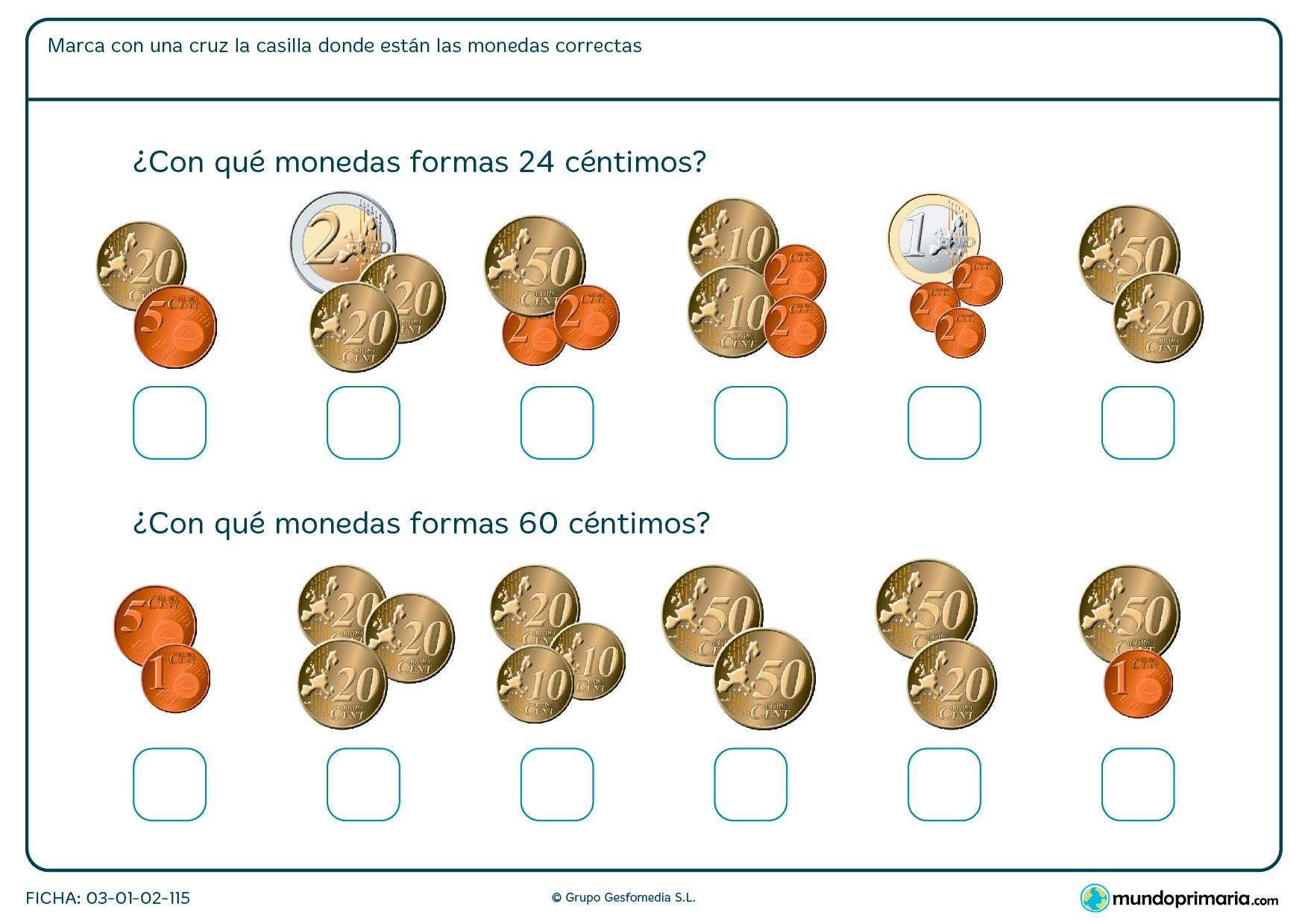 Ficha de céntimos en la que tendrás que saber que grupo de ellas se corresponde con la cifra que te damos.