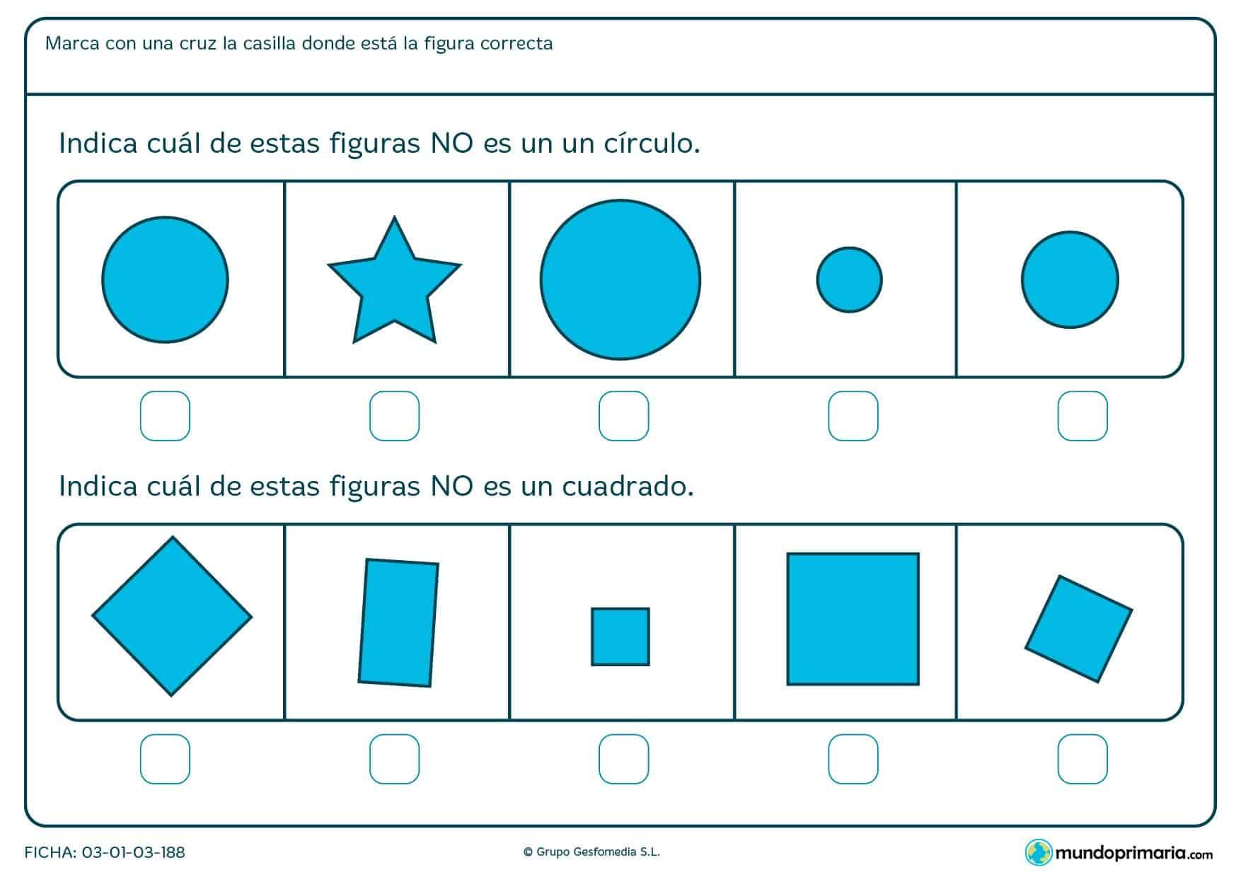 Ficha de círculos para niños de primaria con ejercicios de apoyo escolar