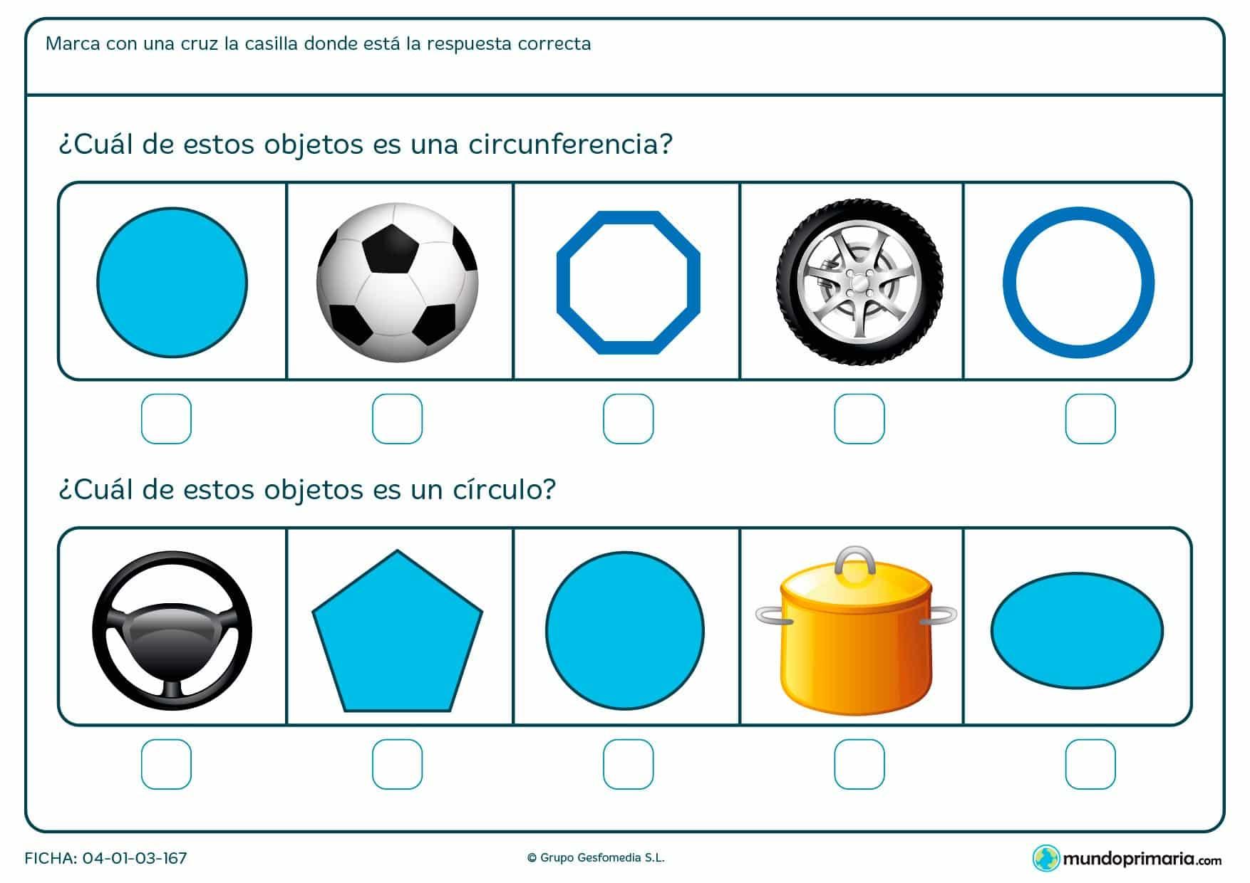 Ficha de círculos en la que debes marcar que objetos son circunferencias y cuáles círculos.