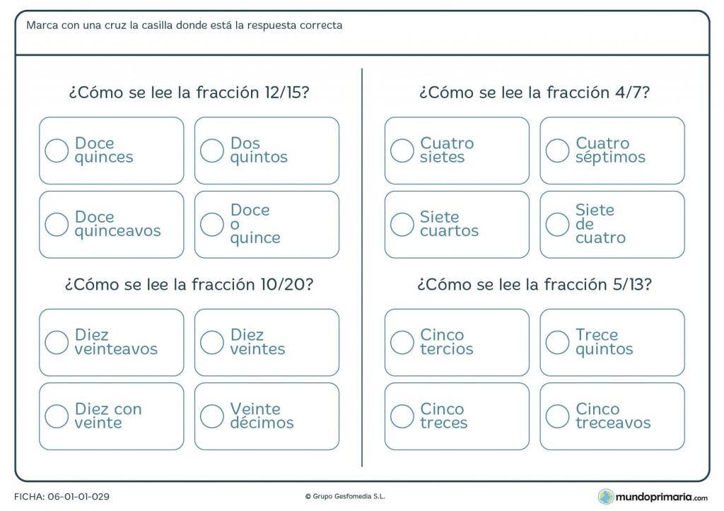 Ficha de cómo leer fracciones para niños de primaria