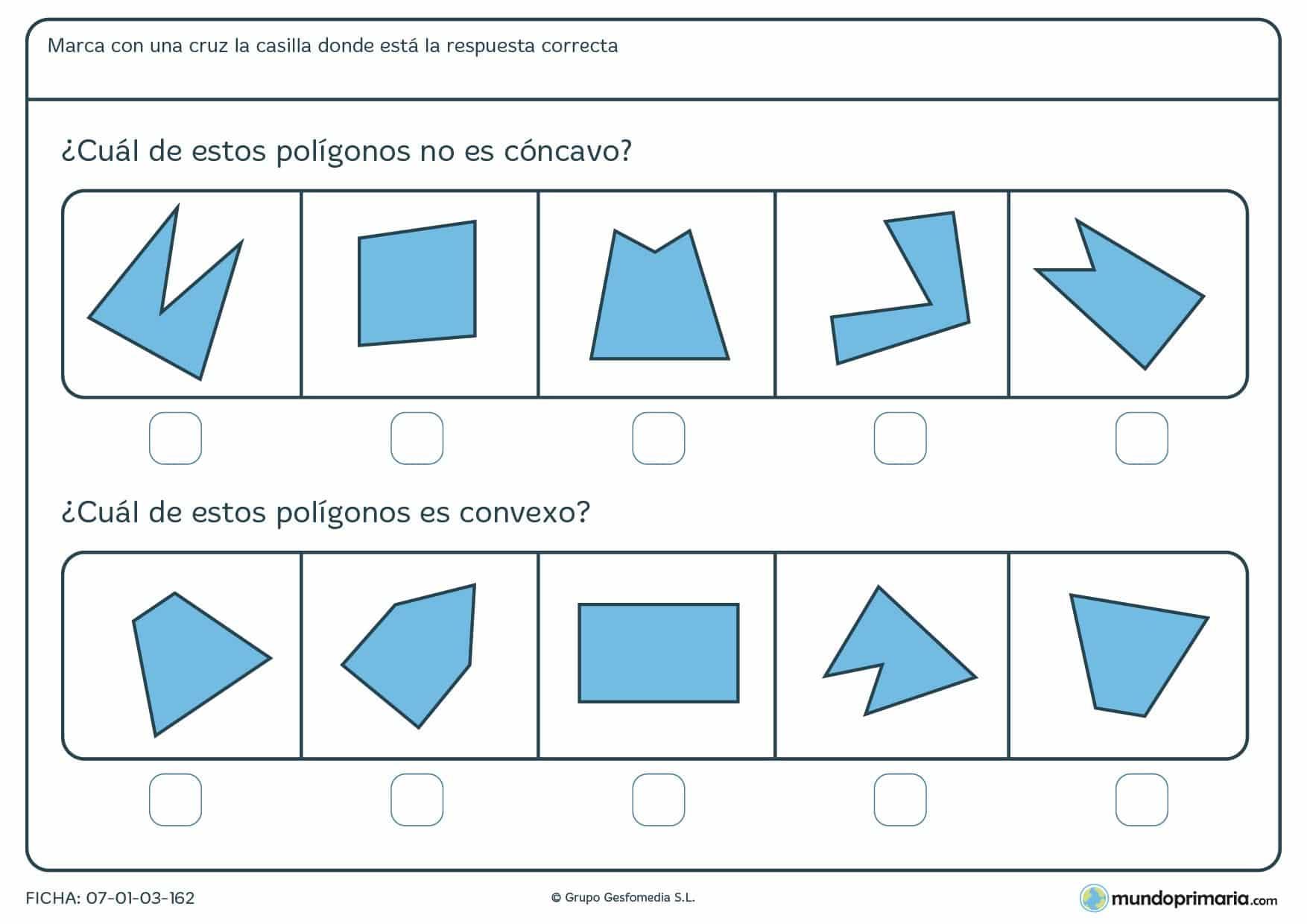 Ficha de cóncavos o convexos en la que has de decir si lo son o no lo son según se pida en el enunciado.