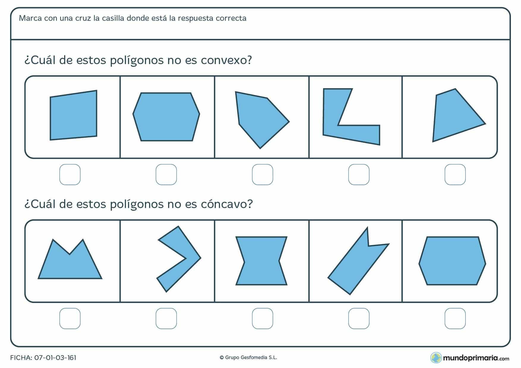 Ficha de cóncavos para que marque los poligonos que no lo son y para los que no son convexos también.