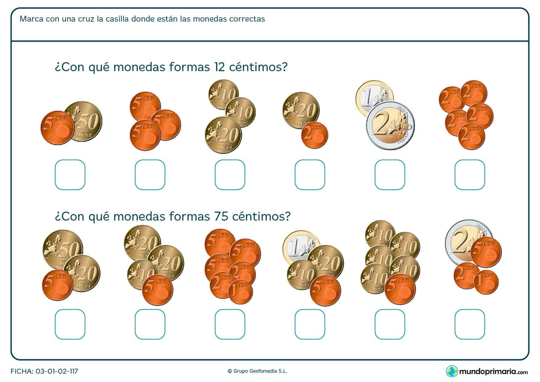 Ficha de calcular monedas en la que tendrás que saber que grupo de ellas se corresponde con la cifra que te damos.